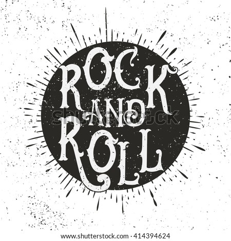Monochrome Rock music print, hipster vintage label, graphic design with grunge effect, tee print stamp. t-shirt lettering artwork Stock photo ©