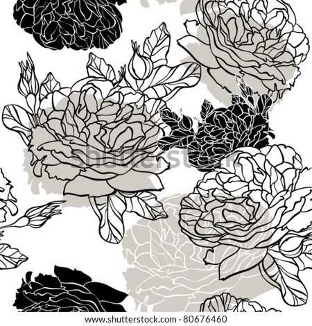 monochrome seamless floral pattern with roses
