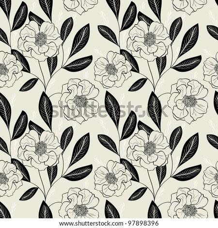 Monochrome Seamless Hand-Drawn Floral Pattern