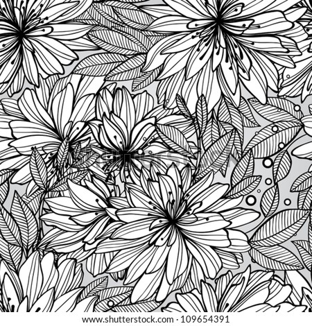 Monochrome seamless pattern of abstract flowers - stock vector