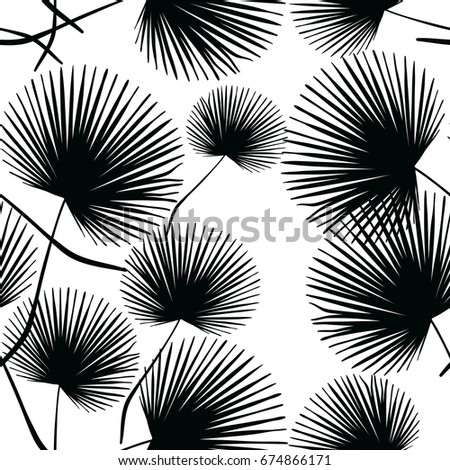 Monochrome Seamless Pattern of Tropical Leaves. Vector Illustration of Stylized Plants. Decorative Floral Background with Foliage. Design for Fabric or Wallpaper. Fashion Print for Textile.