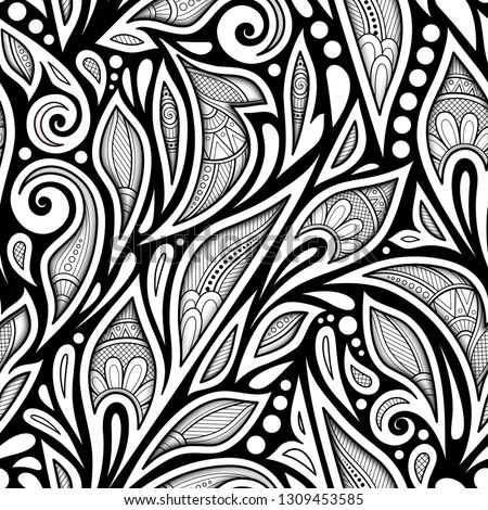 Monochrome Seamless Pattern with Floral Ethnic Motifs. Endless Texture with Damask Design Element. Indian, Turkish, Paisley Garden Style. Coloring Book Page. Vector 3d Contour Illustration. Ornate Art