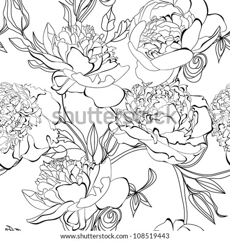 Monochrome seamless pattern with Peony flowers
