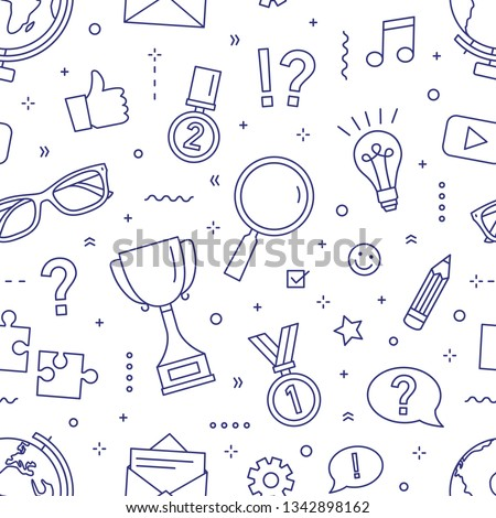 Monochrome seamless pattern with puzzles, riddles, quiz tournament or competition, knowledge test, smart game elements. Vector illustration in linear style for wrapping paper, fabric print, wallpaper.