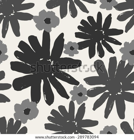 Monochrome seamless repeating pattern with hand painted flowers. #289783094
