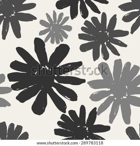 Monochrome seamless repeating pattern with hand painted flowers. #289783118