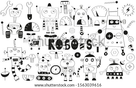 Monochrome set of cute robot and transformer characters isolated on white background. Robotics for kids. Vector illustration. Lettering robots.