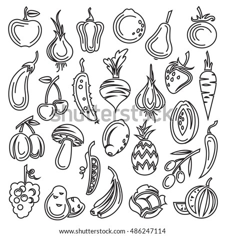 monochrome set of fruits and vegetables #486247114
