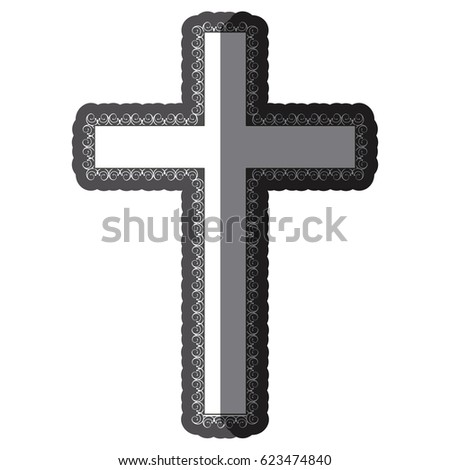 monochrome shading silhouette wooden cross with swirl decorative ...