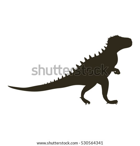 monochrome silhouette with dinosaur tyrannosaurus