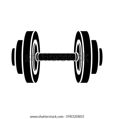 monochrome silhouette with dumbbell for training in gym vector illustration