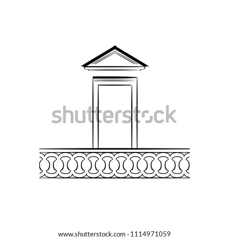 Monochrome Sketch of Window Frame or Balcony Door. Free Hand Draw. Freefand Drawing of Architectural Element for Exterior. Vector Illustration. Retro Style Building Detail. Classical Architecture