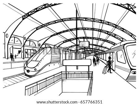 monochrome sketch with railway