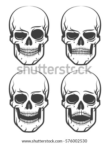 monochrome skull tattoo set of