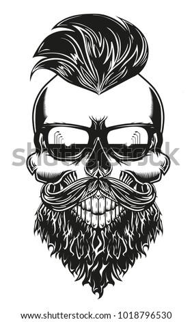 5f237d5c13d1 Monochrome skull with beard