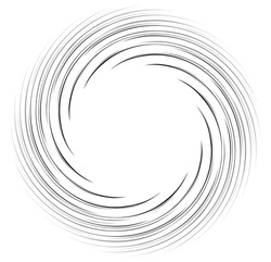 Monochrome spiral geometric. Rotating radial lines abstract design element