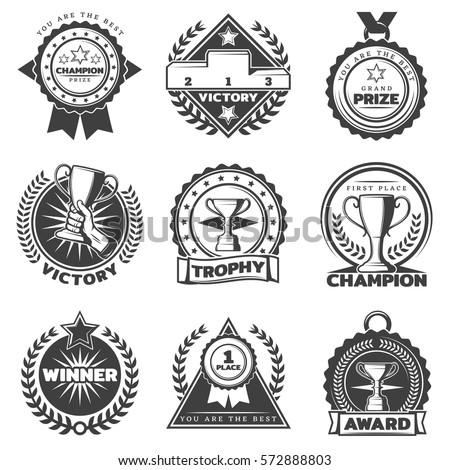 Monochrome sport award labels set with different prizes and rewards in vintage style isolated vector illustration