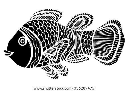 monochrome stylized fish hand