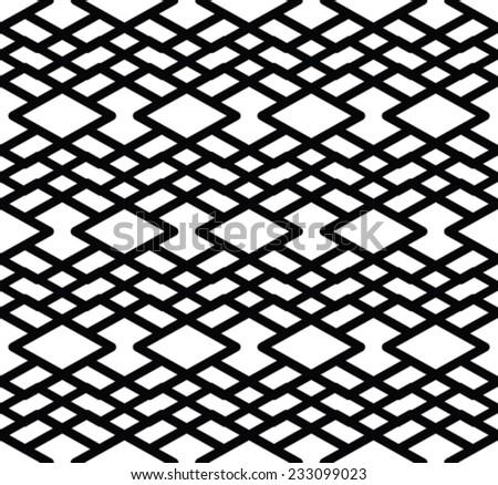 Monochrome symmetric seamless pattern with lines, black and white infinite geometric textile.