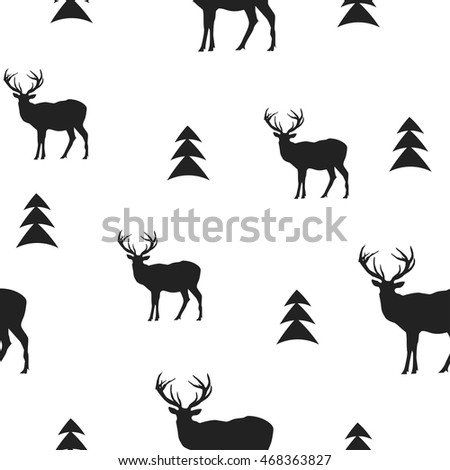 monochrome vector background. pattern with deer. winter background