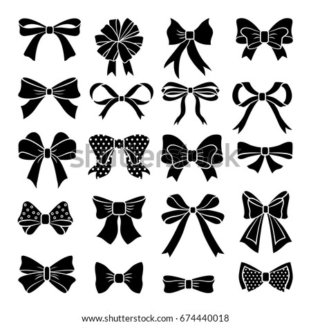 Monochrome vector bows and ribbons set. Holiday illustrations isolate