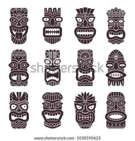 Monochrome vector illustrations set of tribal god tiki. Black white tahitian totem, idol god hawaiian tiki with teeth and mouth