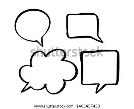 Monochrome vector speech boobles set. Set of hand drawn doodle frames for dialogue with place for text bubble. Vector illustration