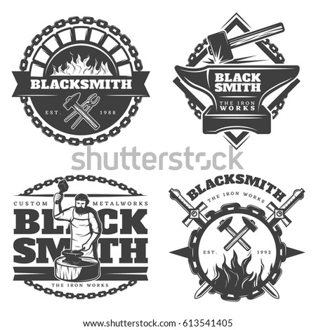 Monochrome vintage blacksmith emblems set with working master sledgehammer fire metal chain and equipment isolated vector illustration