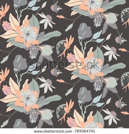 Monochrome Vintage Flower Vector Seamless Background