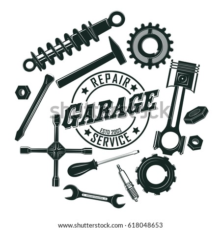 Monochrome vintage garage tools round concept with mechanic and repair equipment isolated vector illustration