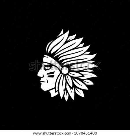monochrome  vintage  indian head mascot. logo or icon isolated on white background. Vector illustration