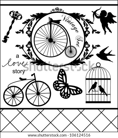 monochrome vintage objects collection. vector illustration