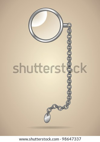 Monocle isolated  - vector illustration Shadow and background are on separate layers. Transparent lens. Easy editing.