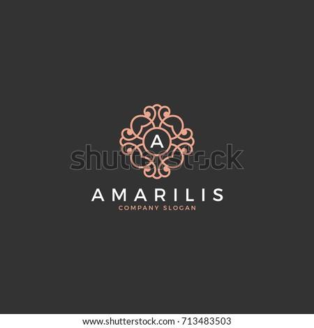 monogram, abstract, beauty, emblem, elegant logo
