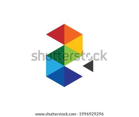 monogram anagram of colorful  initial segment letter Z 2 Stock fotó ©