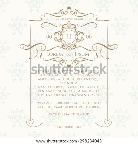 Monogram, border, frame and classic seamless pattern. Vector template for greeting cards, invitations, menus, labels. Graphic design page. #298234043