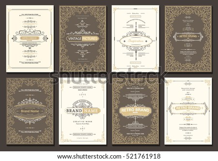 Monogram creative card template with flourishes ornament elements. Elegant design for cafe, restaurant, heraldic, jewelry, fashion