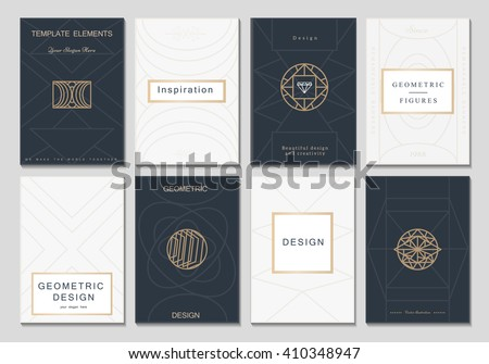 Monogram creative cards template with geometric elements. Elegant design for cafe, restaurant, heraldic, jewelry, fashion.