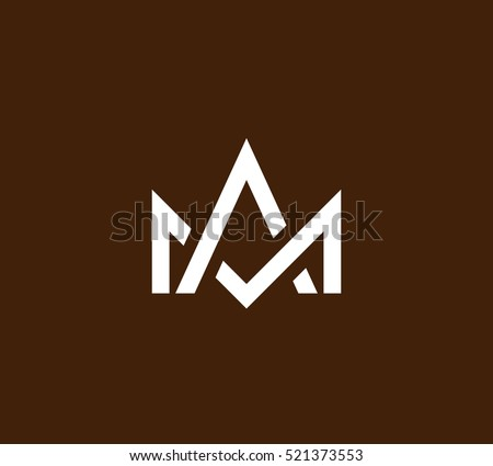 monogram crown vector logo in a modern line style