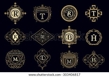 Monogram design elements, graceful template. Calligraphic elegant line art logo design Letter emblem M, B, R, H, T, L for Royalty, business card, Boutique, Hotel, Restaurant, Cafe. Vector illustration