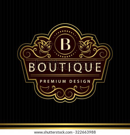 Monogram design elements, graceful template. Calligraphic Elegant line art logo design Letter emblem B identity for Restaurant, Royalty, Boutique, Cafe, Hotel, Heraldic, Jewelry, Fashion, Wine. Vector