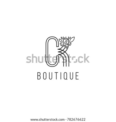 Monogram design in the form  of a tree, graceful template. Calligraphic elegant line art logo design. C,K letters emblem sign  for Royalty,  Boutique, Hotel, Heraldic, Jewelry, fashion store.  Stok fotoğraf ©
