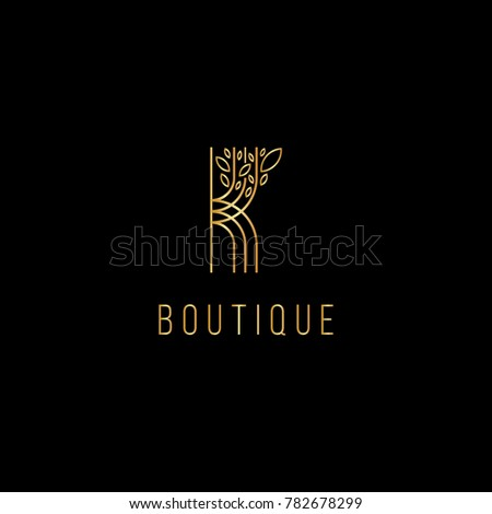 Monogram design in the form  of a tree, graceful template. Calligraphic elegant line art logo design. K letter emblem sign  for Royalty,  Boutique, Hotel, Heraldic, Jewelry, fashion store.  Stock fotó ©