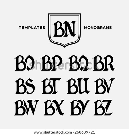 Monogram design template with combinations of capital letters BN BO BP BQ BR BS BT BU BV BW BX BY BZ. Vector illustration. Zdjęcia stock ©