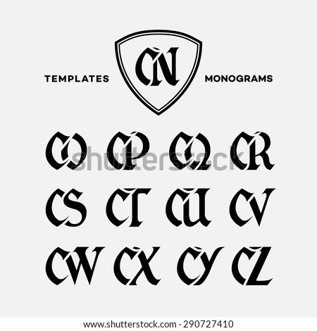 Monogram design template with combinations of capital letters CN CO CP CQ CR CS CT CU CV CW CX CY CZ. Vector illustration. Zdjęcia stock ©