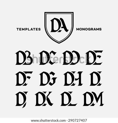 Monogram design template with combinations of capital letters DA DB DC DD DE DF DG DH DI DJ DK DL DM. Vector illustration. Stock fotó ©