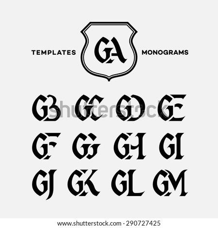Monogram design template with combinations of capital letters GA GB GC GD GE GF GG GH GI GJ GK GL GM. Vector illustration. Stock fotó ©
