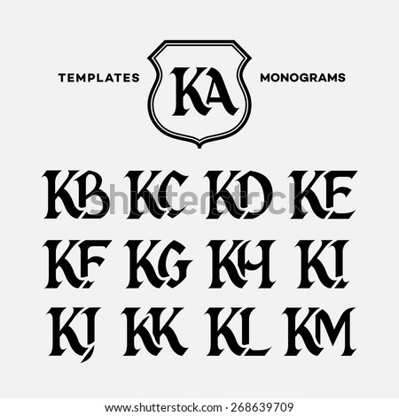 Monogram design template with combinations of capital letters KA KB KC KD KE KF KG KH KI KJ KK KL KM. Vector illustration. Zdjęcia stock ©
