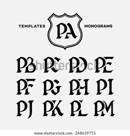 Monogram design template with combinations of capital letters PA PB PC PD PE PF PG PH PI PJ PK PL PM. Vector illustration. Stok fotoğraf ©