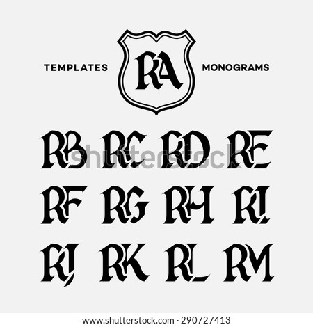 Monogram design template with combinations of capital letters RA RB RC RD RE RF RG RH RI RJ RK RL RM. Vector illustration. Stock fotó ©